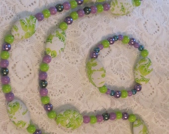 Green and Purple handmade Necklace