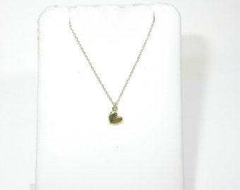 14 k Yellow Gold Mini-Heart with 14 inch Gold Chain