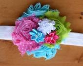 lime turquoise hot pink Headband, baby Headband, shabby Baby headband, newborn headband, flower headband, baby girl  hairbow