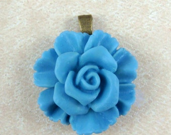 Blue Flower Pendant, Flower Cabochon Pendant - Large Ruffle Flower with Attached Bail - Dusty Blue Flower Pendant