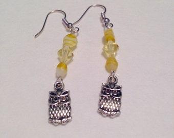 Yellow glass beaded Owl earrings