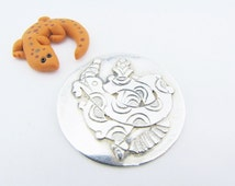 Aztec Brooch Feathered Serpent Brooch Quetzalcoatl Brooch Taxco Serpent Pin Large Brooch Round Brooch Snake Brooch Gifts for Her SALE