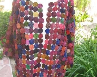 SALE Vintage 1970's Thailand Cotton and Silk Yo-Yo Quilt Coat Jacket