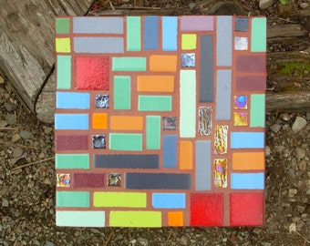 """made to order, Abstract Mosaic, """"Geometrics"""", exterior garden stepping stone,12"""" square, glass and tile, pick your colors"""