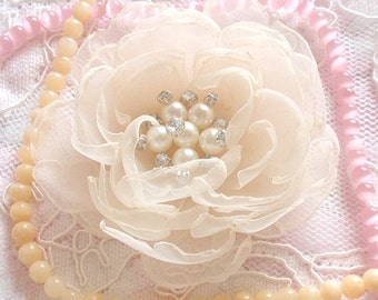 Singed Flower Singed Rose Organza Flower Fabric Flower Fabric Rose Pearl and Rhinestone (3-1/2 inches) In Cream MY-346 Ready To Ship