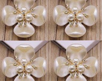 4 Flat Back Pearl Button Pearl Flower Tray, Rhinestone Pearl Button (45x45mm) QS-090