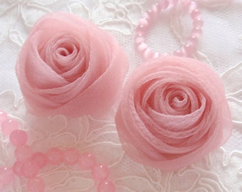 2 Organza Rolled Roses Chiffon Roses Organza Roses Chiffon Flowers Fabric Flower(2 inches) In Dusty Rose MY-352-01 Ready To Ship