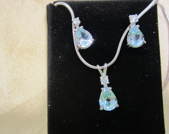 Blue Topaz Earring and Pendant Set