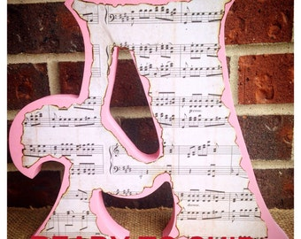 Free Standing Wood Letters-Music Theme-Music Gifts-Stand Alone Letters-Wood Letters-Music Themed Party-Music Decor