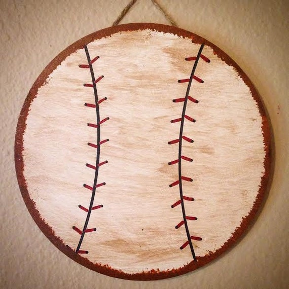 Vintage Baseball Wall Decor : Sports nursery wall hanging baseball soccer