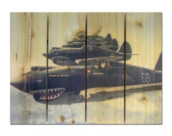 P51 airplane etsy - Vintage airplane triptych ...