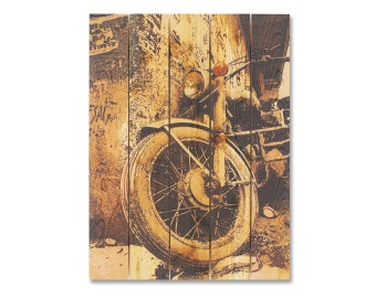 28x36 Old Retro Motorcycle on Cedar. Hang inside or Outside, Home Decor, Wall Hanging. (GD2836)