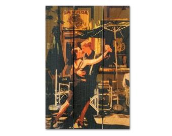 16x24 Argentine Tango, Dancing on Wood, Cedar Wall Hanging Home Decor, Indoor Outdoor Safe (AT1624)