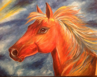 Wildfire horse abstract nature print
