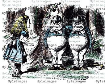 Digital delivered vintage image Tweedle dee and Tweedle dum