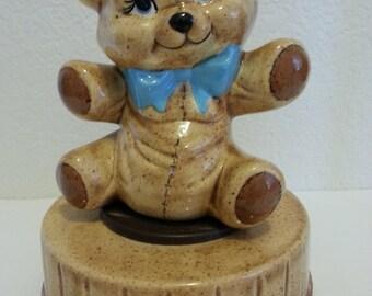 Ceramic Teddy Bear Musical Figurine