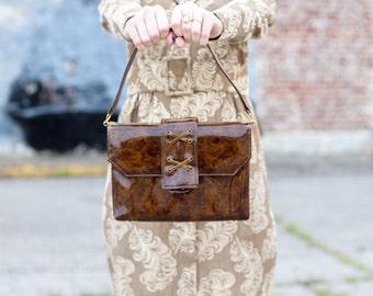 SALE vintage 1950s handbag / 1960s handbag / 1950s purse / 1960s purse / vintage purse / brown purse / brown handbag / 50s purse / 60s purse