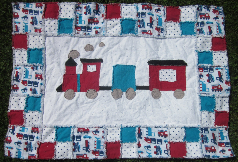 Train Quilt Baby Train Blanket Unique Modern Choo Choo