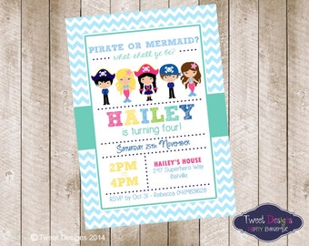 PIRATE and MERMAID Invitation, Printable Girl Pirate Invitation, MERMAID and Pirate Invitations, Pirate and Mermaid Chevron Invitations