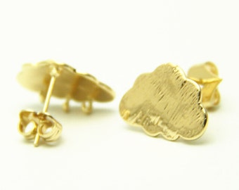 6 pcs of brass cloud ear post 18x12mm-4542-18k gold