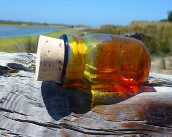 Heavy-walled Handblown Fumed Amber Glass Jar with Dark Blue Lip