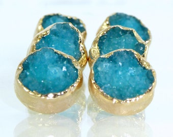 Stud Earrings, Druzy, Gold, Agate, Blue Druzy Stud Earrings, Blue Druzy Post Earrings, Gold Earrings, Gemstones Stud Earrings, Druzy Jewelry