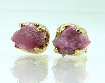 Raw Stud Earrings, October Birthstone, Raw Pink Tourmaline Gold Studs, Rough Gemstone Earring, Prong Set tourmaline, Pink Gemstone Earrings.