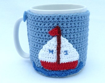 Blue crochet boat mug cozy