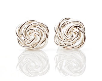 Rose Studded Earrings- Sterling Silver