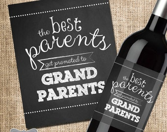 The Best Parents Get Promoted to Grandparents Wine Label, Pregnancy Announcement Wine Label, Announcing Pregnancy to Family, Custom Wine