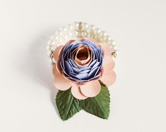 Bridesmaid Paper Flower Wrist Corsage - Pearl Band