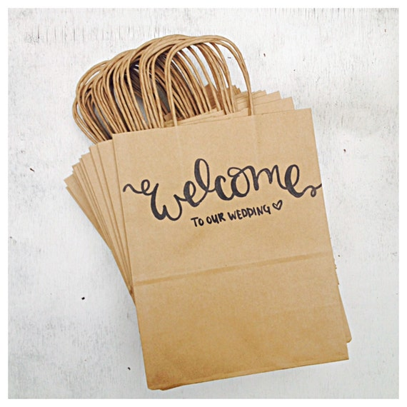 welcome to our wedding rustic wedding guest hotel favor kraft