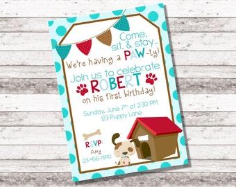 Boy's Puppy Birthday Invitation | 1st 2nd Birthday Invitation | Puppy Theme Party | Boy Birthday Invite | Adopt a Puppy | Digital Invite