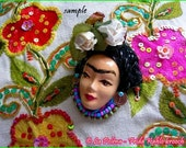 FRIDA KAHLO face cabochon, Made in Italy Venetian mask Type A, hand made hand painted small face, Mardi Gras, Carnevale