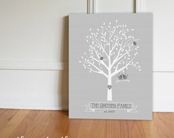 Personalized Family Tree Canvas, Family Tree Art, Canvas Print, Modern Family Tree, Wedding, New Baby, Anniversary Gift