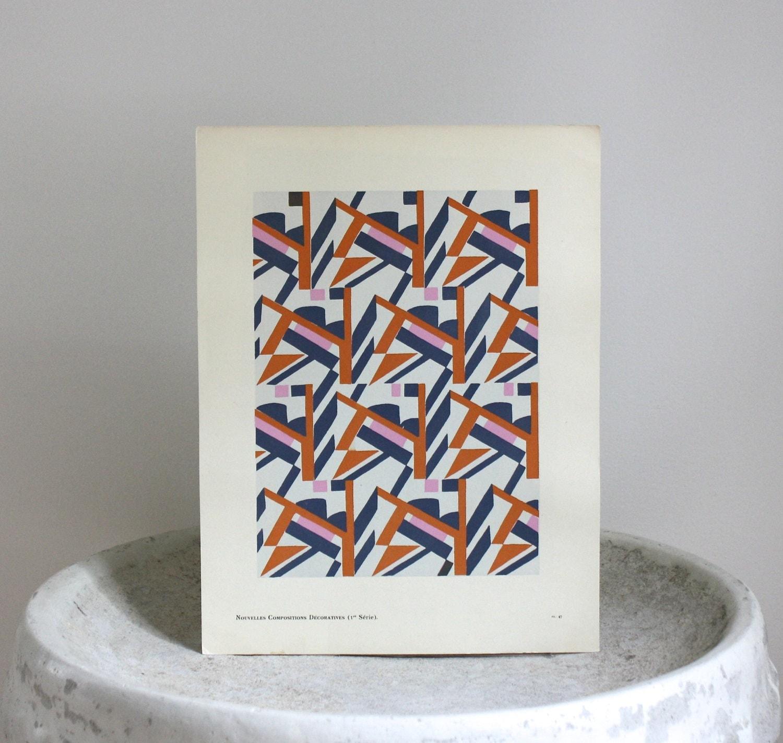 Vintage art deco abstract print pochoir geometric art for Pochoir deco