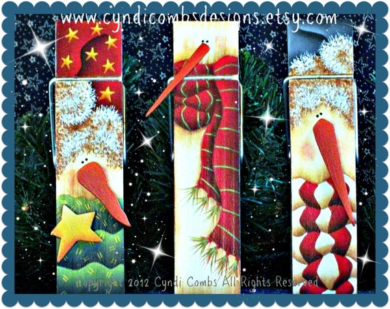 CC103 - Frosty Flakes Snowman 6 inch Memo Clips - Painting E Pattern