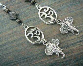 sacred elephant earrings ohm earrings spiritual earrings yoga  ohm om buddha new age boho tribal beach hipster style