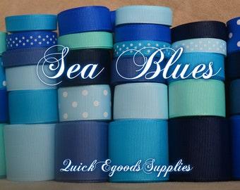 Winter 66 yards Wholesale Sea Blues Grosgrain Ribbon Hair bows, sewing, weddings Supplies/ 66 yardas de cinta Mar de Azules para lazos