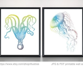 Jellyfish and octopus drawings, printable wall art, digital art print, 8x10 print, illustration, nautical home decor, instant download