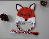 FOX Hat - Crochet Fox Hat - Baby Fox Hat - Toddler Fox Hat - Child Fox Hat - Adult Fox Hat - Boy Fox Hat - Photo Prop - Animal Hat-Baby Hats
