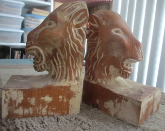 Pair Of Italian Rough Carved Wooden Lion's Head Bookends