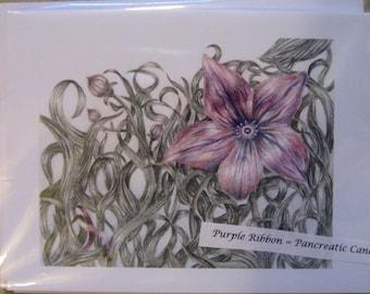 Purple Flower Cards (Pancreatic Cancer)