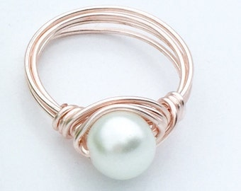 Pearl Wire Wrapped Ring in Rose Gold