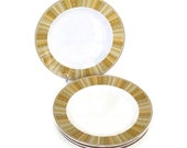 Mid Century Franciscan China- Dinner Plates-Antigua Pattern-1960's-Gold and Brown Rim-Set of 4-Vintage Dinnerware-Whitestone Ware