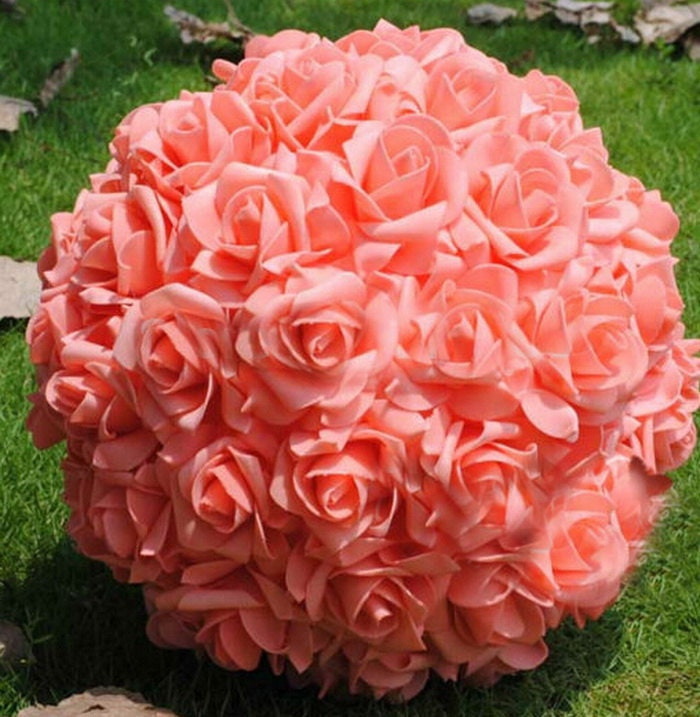 Coral kissing ball rose pomanders for wedding