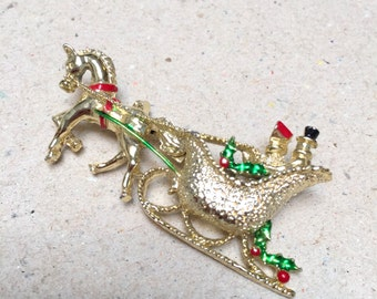 Gerry's Christmas Sleigh Brooch (vintage retro 50s 60s gold enamel holiday horse figural stocking stuffer cute)