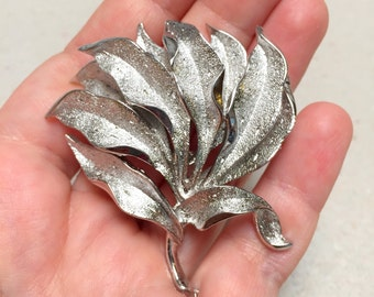 Coro Silver Tone Leaf Brooch (vintage retro 50s 60s metal layer big large mad men branch nature silver signed leaves)