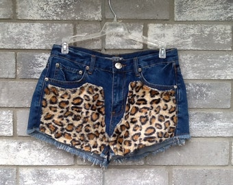 fuzzy leopard denim girly grunge shorts