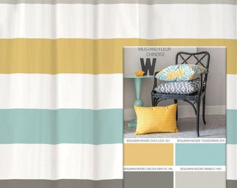 Shower Curtain In Yellow Blue Gray Inspired Stripes Standard And Long Lengths 70